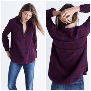 Madewell Flannel plaid Zip Front Popover Top E6001